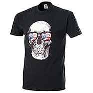 T-Shirt Fruit of the Loom US Skull Sunglasses Black