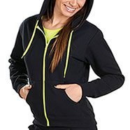 Felpa Donna Black Yellow Fluo