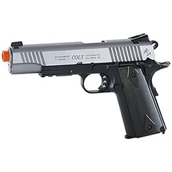 Replica Softair Cybergun Colt 1911 RailGun 6mm Stainless DualTone