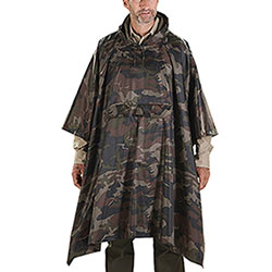 Camouflage-design waterproof poncho