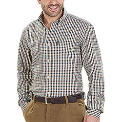 Camicia flanella uomo Beretta Cotton Button Down Beige Check