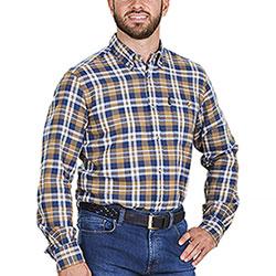 Camicia flanella uomo Beretta Cotton Flannel Blu Beige Plaid