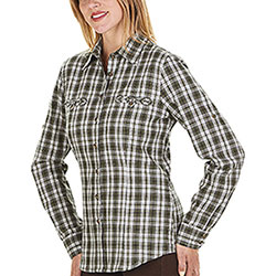 Camicia Donna Charlotte Olive Hunting Green Check