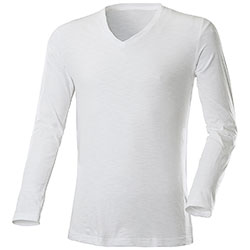 T-Shirt Manica Lunga White Collo a V