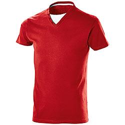"T-Shirt Collo a ""V"" Button Red"