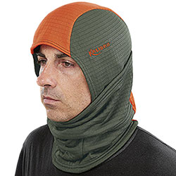 Balaclava Kalibro Fleece Microsquares Dark Green Orange HV