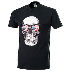 T-Shirt Fruit of the Loom US Skull Sunglasses Black