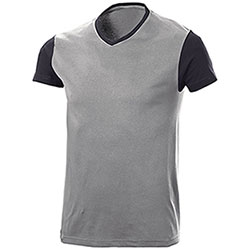T-Shirt Trendy Bicolor Light Grey Black