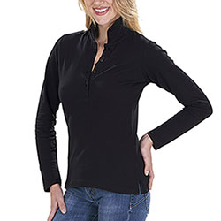 Polo Lady M/Lunga Safran Black