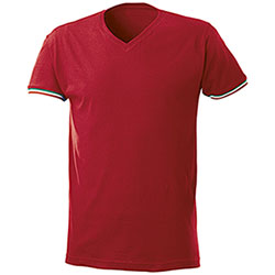 T-Shirt uomo Nation Collo a V Red