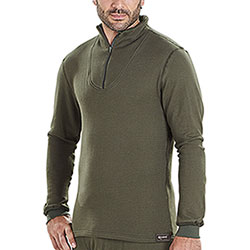 Maglietta termica Kalibro Cotton-Siltex Zip Green