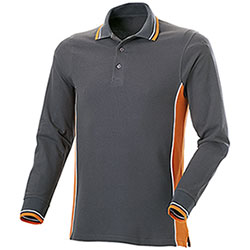 Polo Manica Lunga uomo Melt Dark Grey-Orange