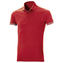 Polo uomo manica corta Tricolor Red