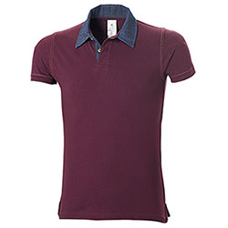 Polo Piquet Contrast Denim Burgundy