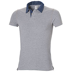 Polo Piquet Contrast Denim Heather Grey