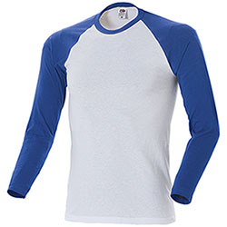 Maglietta Fruit of the Loom White-Royal M/L