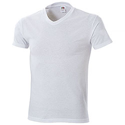 "T-Shirt Fruit of the Loom Collo ""V"" White Taglie Forti"