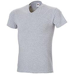 "T-Shirt Fruit of the Loom Collo ""V"" Grey Mélange Taglie Forti"