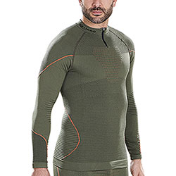 Maglietta Termica Kalibro Zip Dryarn Hunting Green-Orange M/L