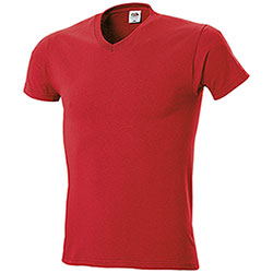 "T-Shirt Fruit of the Loom Collo ""V"" Red"