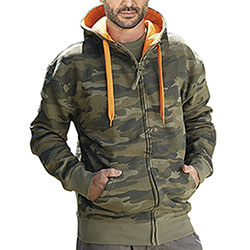 Felpa Full Zip Camouflage Green
