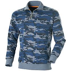 Felpa uomo Lupetto Mezza Zip Camouflage Blu 280 g/m²