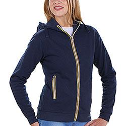 Felpa Donna con cappuccio Vega Full Color Zip Navy