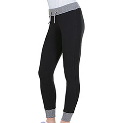 Pantaloni Donna Felpati Stretch Felpa Black-Grey Mélange