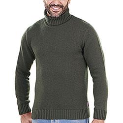 Maglione Collo Alto Lana e Cashmere Verde Kalibro Mito