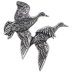 Pewter Flying Mallards Brooch