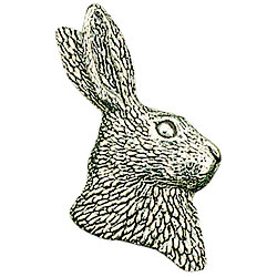Pewter Hare Head Brooch