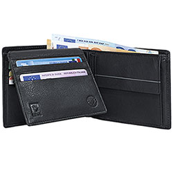 Portafoglio Avirex Na-102 Vera Nappa Black Flap Double Card+Tasca