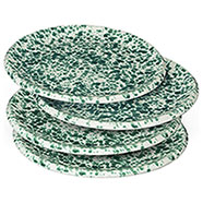 4 Piatti Piani Ceramica Verde Antico Toscano