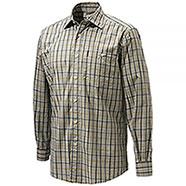 Camicia Beretta Plain Collar Beige Blu Check