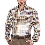 Camicia uomo Beretta Cotton Button Down White Brown Check
