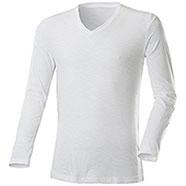 T-Shirt Manica Lunga White Collo a V