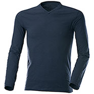 T-Shirt Manica Lunga Navy Collo a V