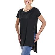 T-Shirt Donna Back Longer Black