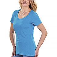 T-Shirt Donna Cotton Scollo Rotondo Caribbean Blu