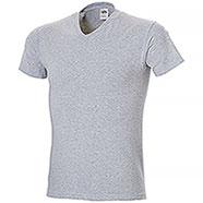 "T-Shirt Fruit of the Loom Collo ""V"" Grey Mélange Taglie Forti"