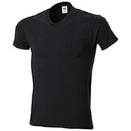 "T-Shirt Fruit of the Loom Collo ""V"" Black Taglie Forti"