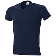 "T-Shirt Fruit of the Loom Collo ""V"" Blu Night"