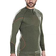 Maglietta Termica Kalibro Zip Dryarn Hunting Green-Orange M/L