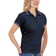 Polo Donna France Navy Fucsia