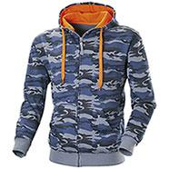 Felpa con cappuccio Full Zip Camouflage Blu