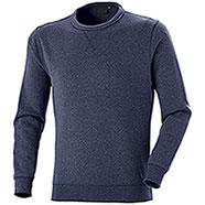 Felpa Girocollo uomo Cotton Trend Mélange Blu
