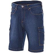 Bermuda Jeans Elasticizzati Washed Indigo