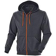 Felpa Full Zip Grey-Orange Fluo