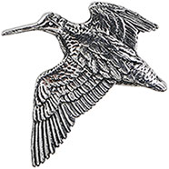 Pewter Woodcock Flying Brooch