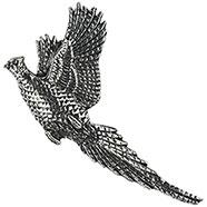 Pewter Flying Pheasant Brooch
